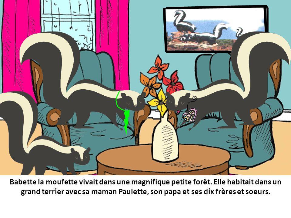 Babette la moufette vivait dans une magnifique petite forêt.