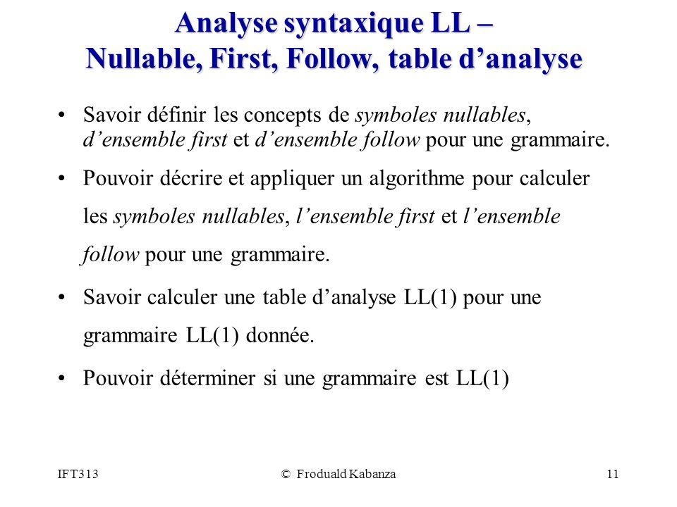 IFT313© Froduald Kabanza11 Analyse syntaxique LL – Nullable, First, Follow, table danalyse Savoir définir les concepts de symboles nullables, densemble first et densemble follow pour une grammaire.