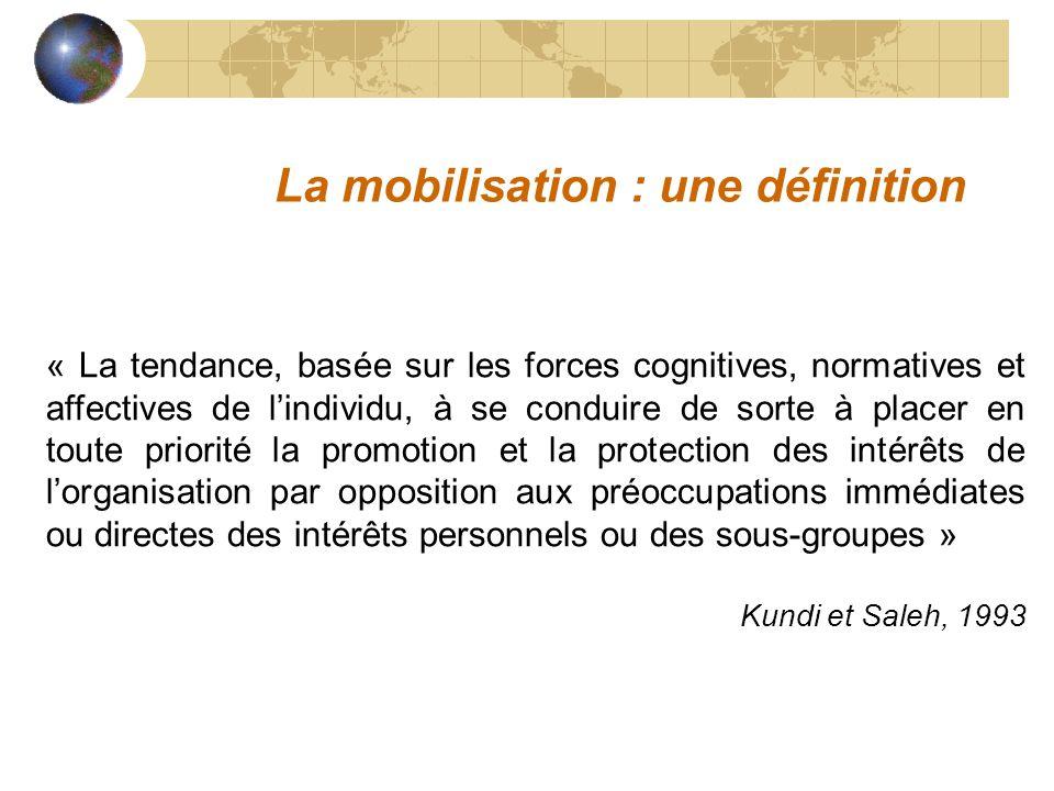 « La tendance, basée sur les forces cognitives, normatives et affectives de lindividu, à se conduire de sorte à placer en toute priorité la promotion et la protection des intérêts de lorganisation par opposition aux préoccupations immédiates ou directes des intérêts personnels ou des sous-groupes » Kundi et Saleh, 1993 La mobilisation : une définition