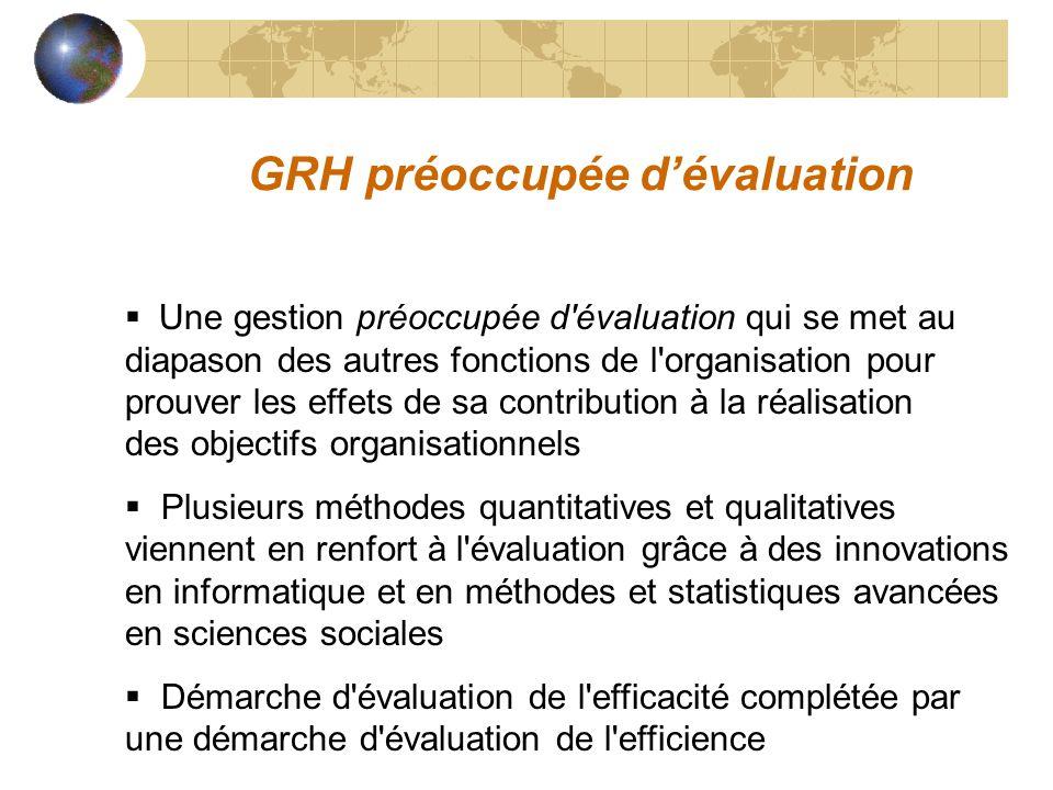 GRH préoccupée dévaluation Une gestion préoccupée d'évaluation qui se met au diapason des autres fonctions de l'organisation pour prouver les effets d