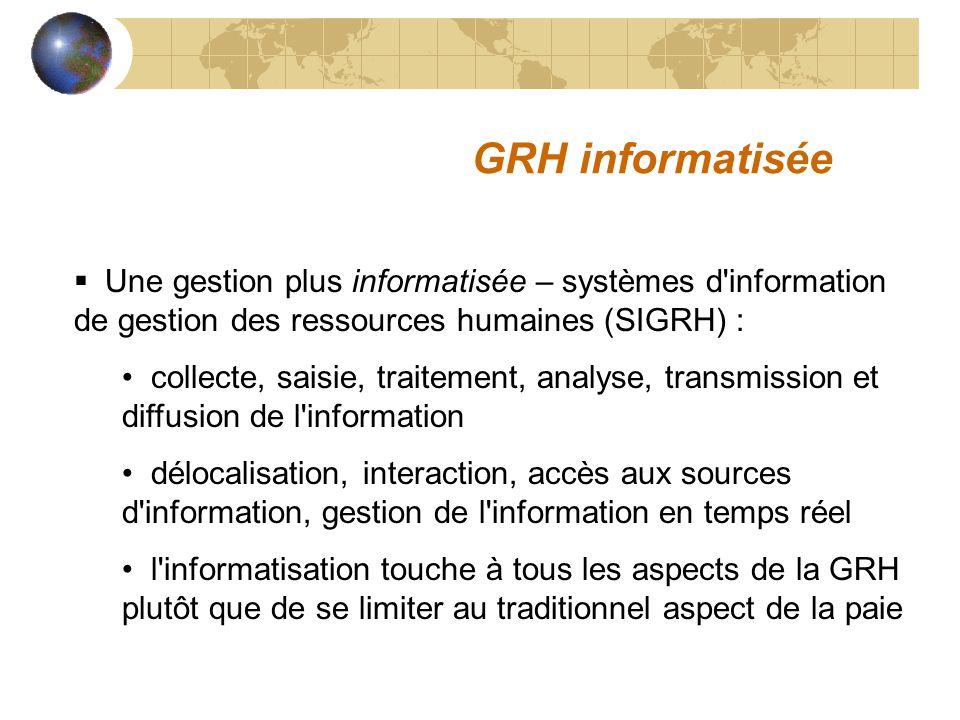 GRH informatisée Une gestion plus informatisée – systèmes d'information de gestion des ressources humaines (SIGRH) : collecte, saisie, traitement, ana
