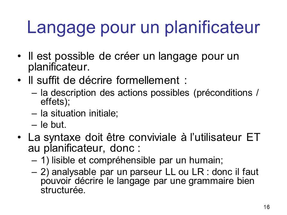 Langage pour un planificateur Il est possible de créer un langage pour un planificateur. Il suffit de décrire formellement : –la description des actio