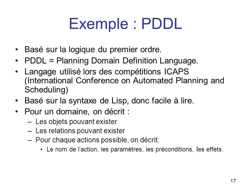 Exemple : PDDL Basé sur la logique du premier ordre. PDDL = Planning Domain Definition Language. Langage utilisé lors des compétitions ICAPS (Internat