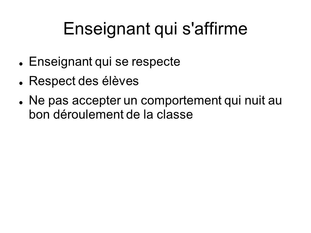 Enseignant qui s'affirme Enseignant qui se respecte Respect des élèves Ne pas accepter un comportement qui nuit au bon déroulement de la classe