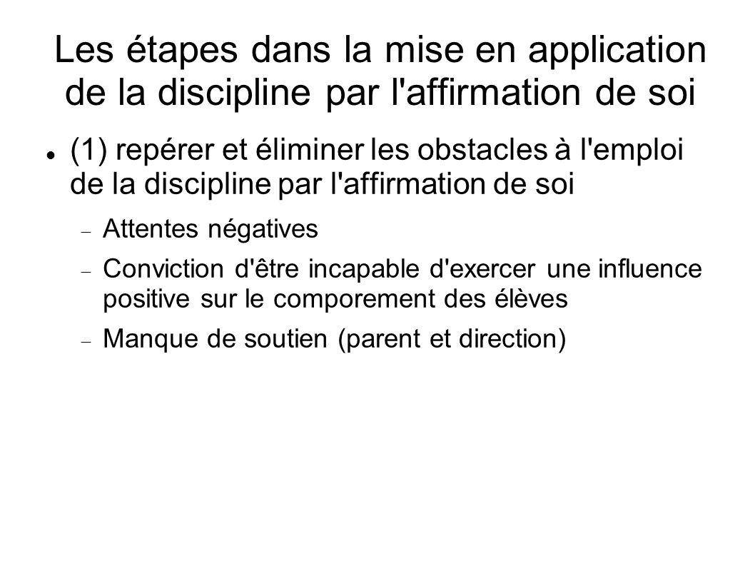 Les étapes dans la mise en application de la discipline par l'affirmation de soi (1) repérer et éliminer les obstacles à l'emploi de la discipline par