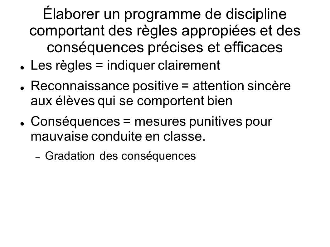Élaborer un programme de discipline comportant des règles appropiées et des conséquences précises et efficaces Les règles = indiquer clairement Reconn
