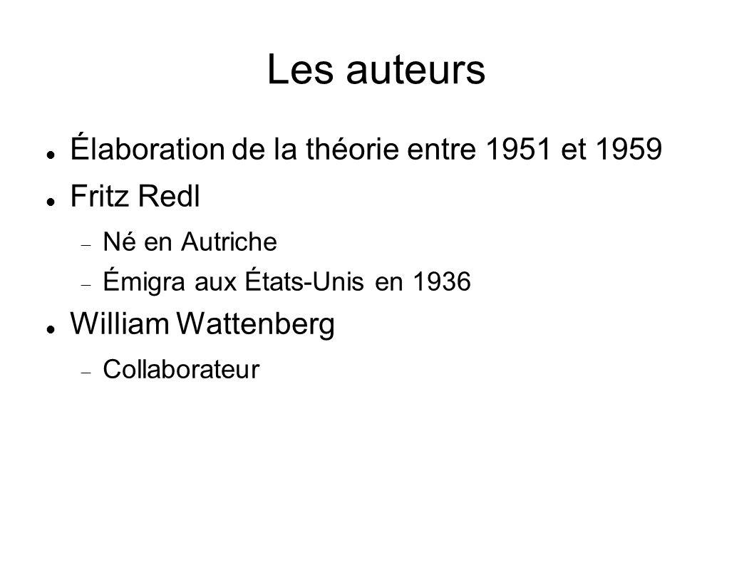 Les auteurs Élaboration de la théorie entre 1951 et 1959 Fritz Redl Né en Autriche Émigra aux États-Unis en 1936 William Wattenberg Collaborateur