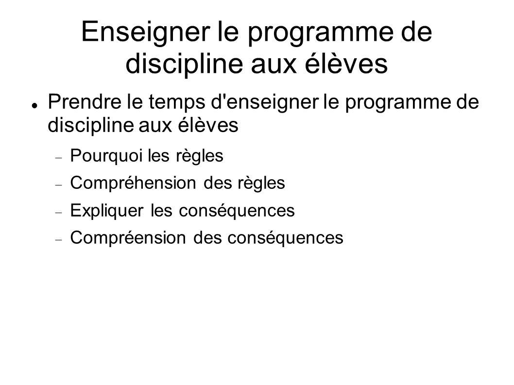 Enseigner le programme de discipline aux élèves Prendre le temps d'enseigner le programme de discipline aux élèves Pourquoi les règles Compréhension d
