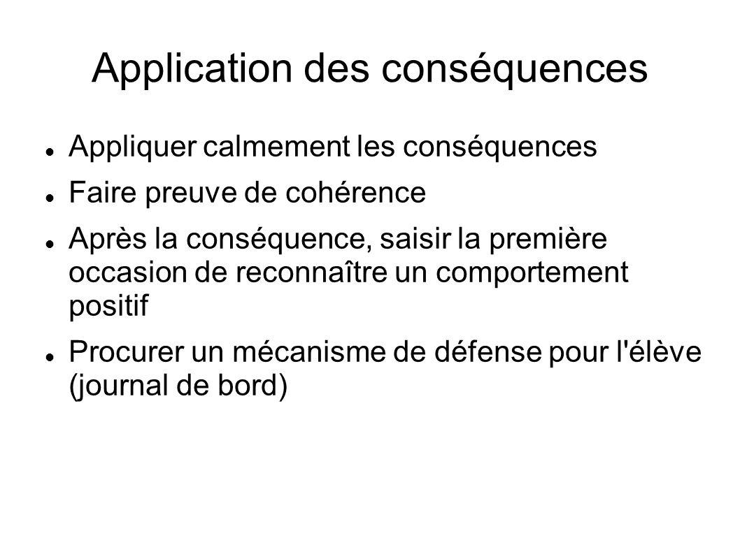 Application des conséquences Appliquer calmement les conséquences Faire preuve de cohérence Après la conséquence, saisir la première occasion de recon