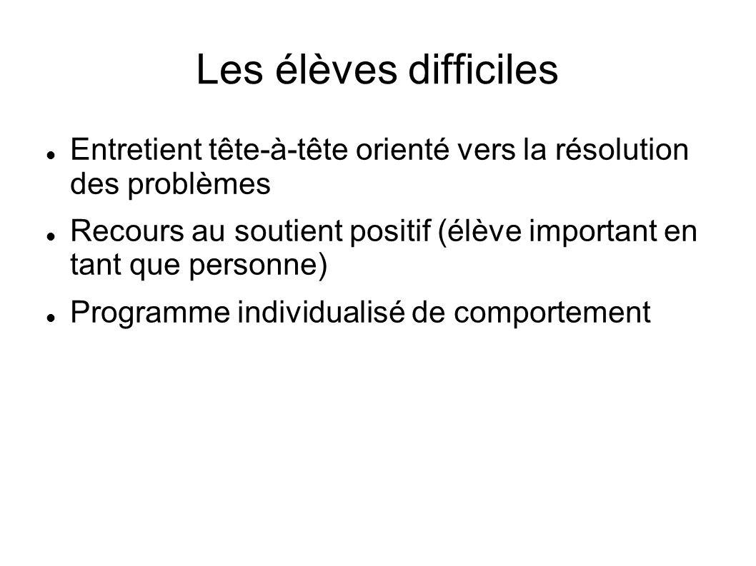 Les élèves difficiles Entretient tête-à-tête orienté vers la résolution des problèmes Recours au soutient positif (élève important en tant que personn