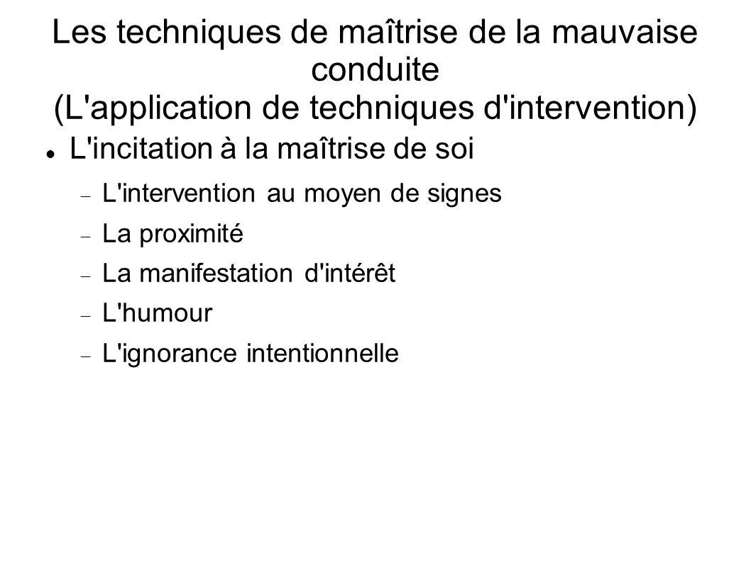 Les techniques de maîtrise de la mauvaise conduite (L'application de techniques d'intervention) L'incitation à la maîtrise de soi L'intervention au mo