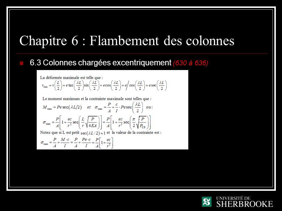 Chapitre 6 : Flambement des colonnes 6.3 Colonnes chargées excentriquement (630 à 636)