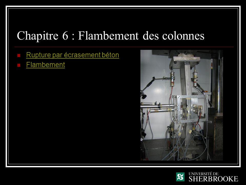 Chapitre 6 : Flambement des colonnes Rupture par écrasement béton Flambement