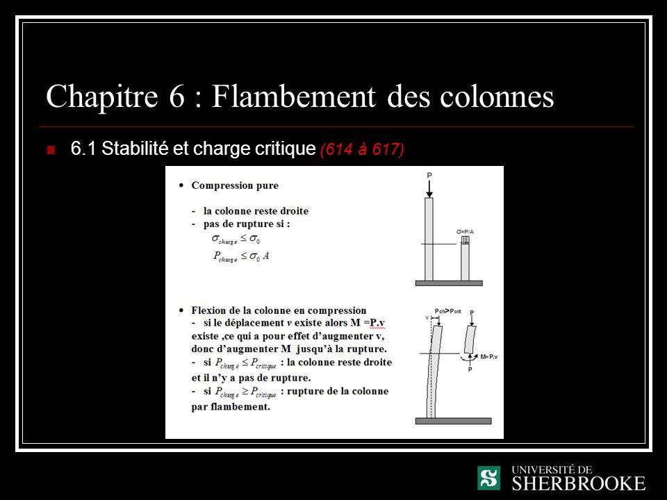 Chapitre 6 : Flambement des colonnes 6.1 Stabilité et charge critique (614 à 617)