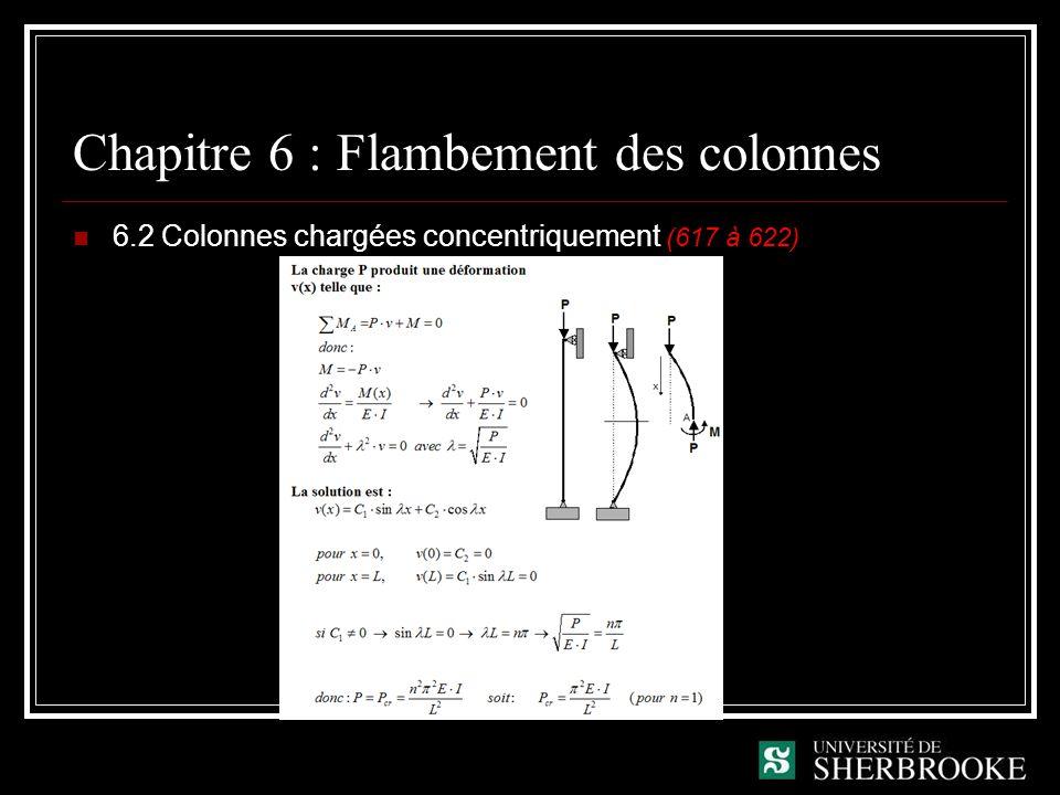 Chapitre 6 : Flambement des colonnes 6.2 Colonnes chargées concentriquement (617 à 622)