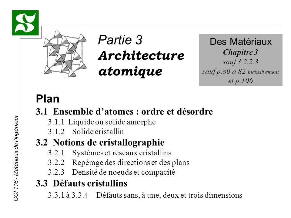 GCI 116 - Matériaux de lingénieur 3.2.1 Systèmes et réseaux cristallins (suite) 3.