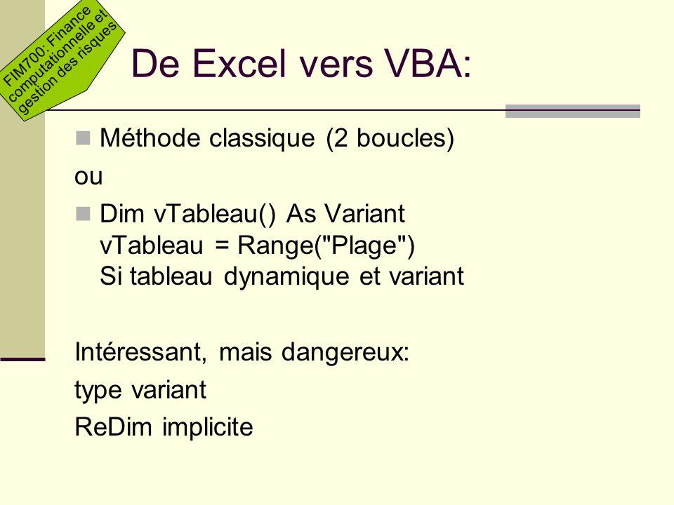 FIM700: Finance computationnelle et gestion des risques De Excel vers VBA: Méthode classique (2 boucles) ou Dim vTableau() As Variant vTableau = Range