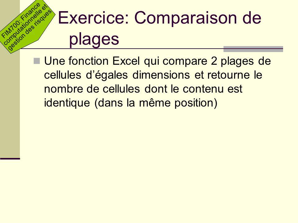 FIM700: Finance computationnelle et gestion des risques Exercice: Comparaison de plages Une fonction Excel qui compare 2 plages de cellules dégales di