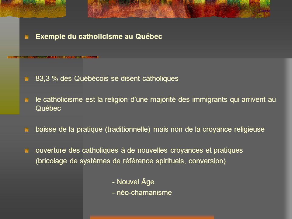 Exemple du catholicisme au Québec 83,3 % des Québécois se disent catholiques le catholicisme est la religion dune majorité des immigrants qui arrivent au Québec baisse de la pratique (traditionnelle) mais non de la croyance religieuse ouverture des catholiques à de nouvelles croyances et pratiques (bricolage de systèmes de référence spirituels, conversion) - Nouvel Âge - néo-chamanisme