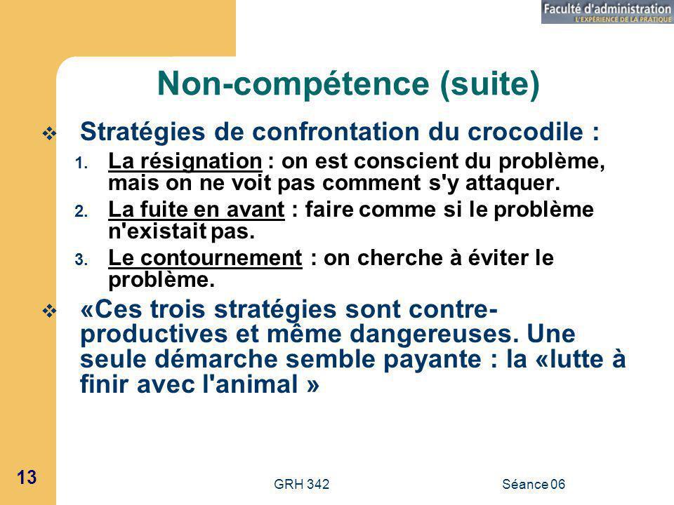 GRH 342Séance 06 13 Non-compétence (suite) Stratégies de confrontation du crocodile : 1.