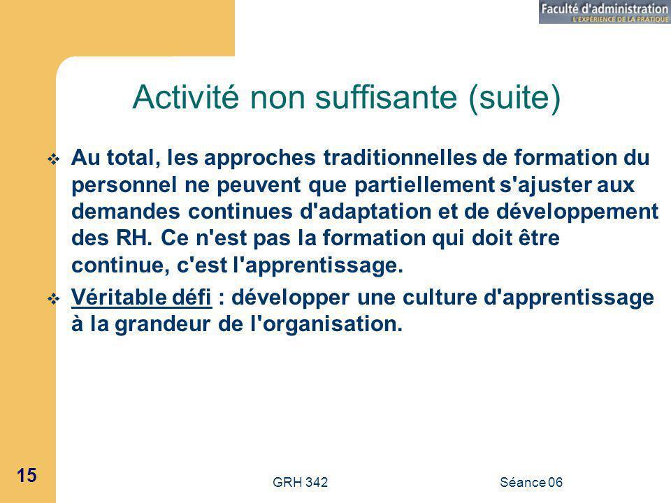 GRH 342Séance 06 15 Activité non suffisante (suite) Au total, les approches traditionnelles de formation du personnel ne peuvent que partiellement s ajuster aux demandes continues d adaptation et de développement des RH.