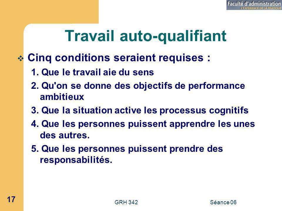 GRH 342Séance 06 17 Travail auto-qualifiant Cinq conditions seraient requises : 1.