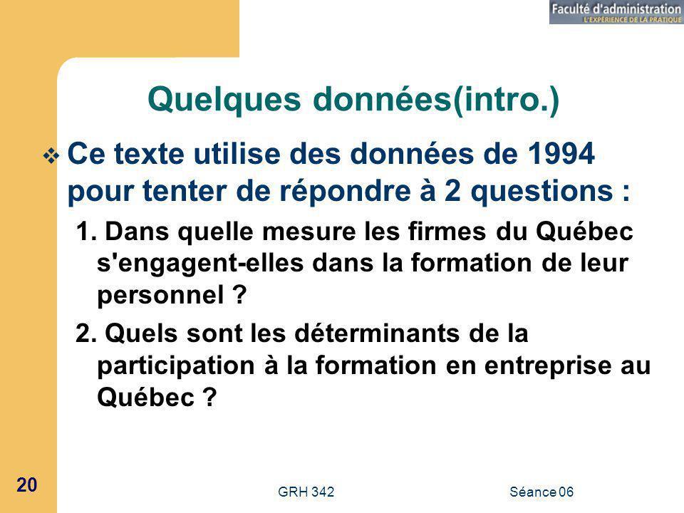 GRH 342Séance 06 20 Quelques données(intro.) Ce texte utilise des données de 1994 pour tenter de répondre à 2 questions : 1.
