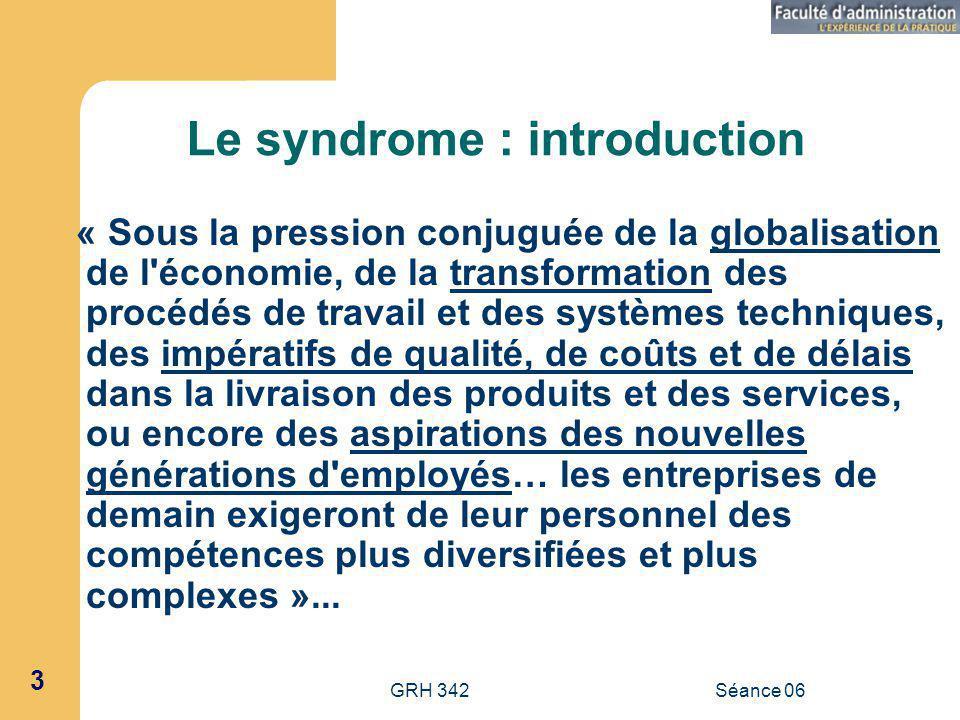 GRH 342Séance 06 44 Canaux de développement (suite) 1.2.4 : Le maillage des compétences, soit la capacité à mobiliser et à combiner les compétences disponibles auprès de ses différents acteurs, ce qui soulève les problèmes suivants : 1.
