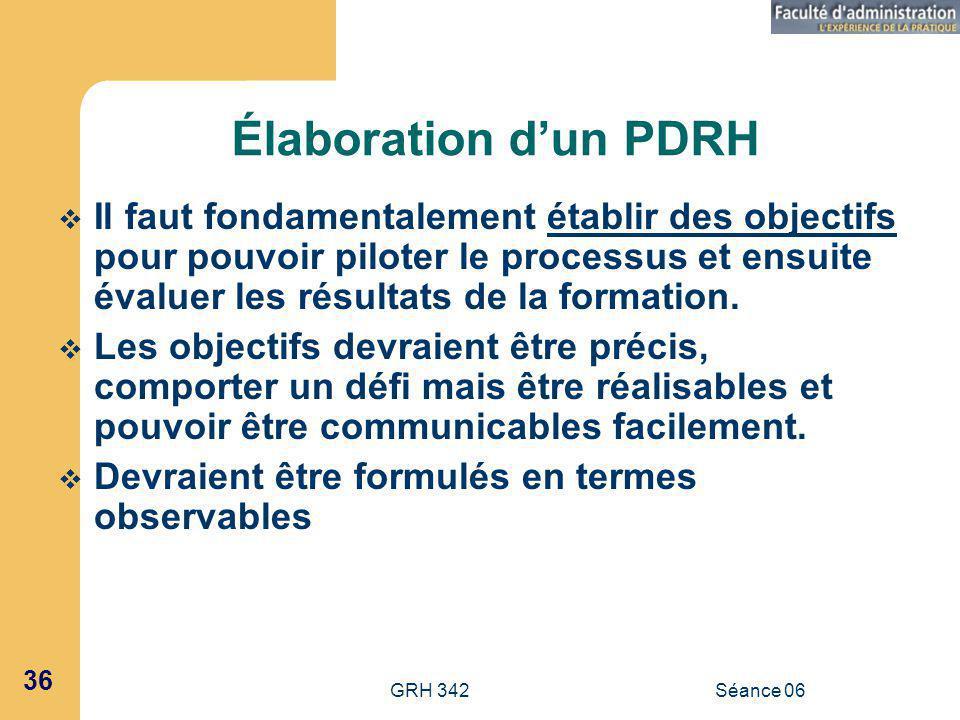 GRH 342Séance 06 36 Élaboration dun PDRH Il faut fondamentalement établir des objectifs pour pouvoir piloter le processus et ensuite évaluer les résultats de la formation.