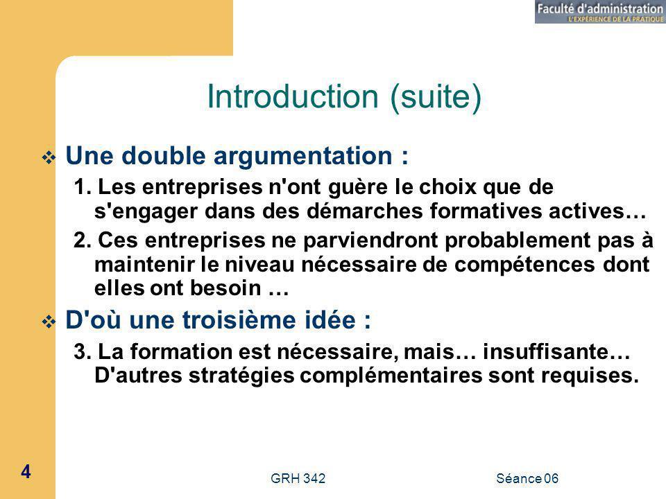 GRH 342Séance 06 4 Introduction (suite) Une double argumentation : 1.