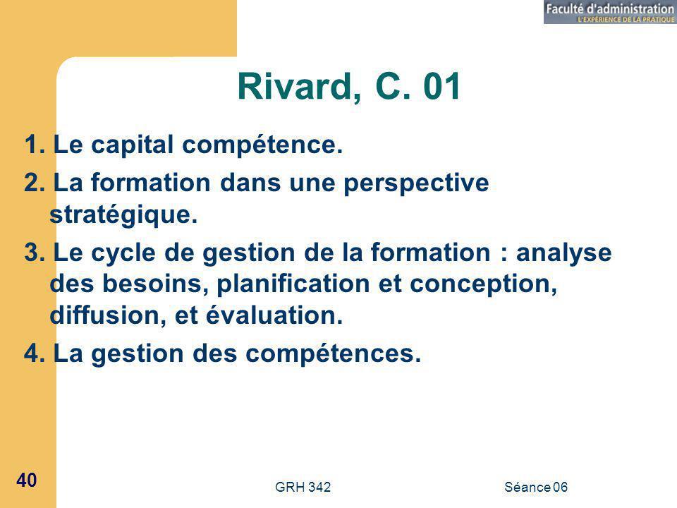 GRH 342Séance 06 40 Rivard, C.01 1. Le capital compétence.