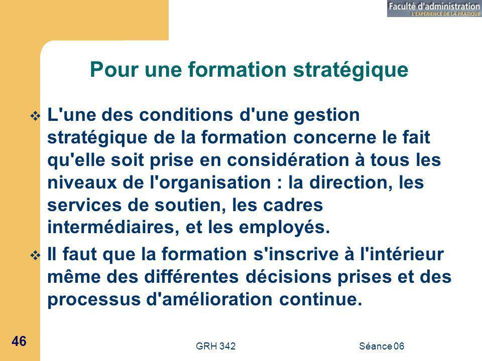 GRH 342Séance 06 46 Pour une formation stratégique L une des conditions d une gestion stratégique de la formation concerne le fait qu elle soit prise en considération à tous les niveaux de l organisation : la direction, les services de soutien, les cadres intermédiaires, et les employés.