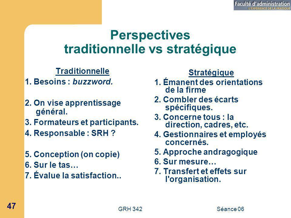 GRH 342Séance 06 47 Perspectives traditionnelle vs stratégique Traditionnelle 1.