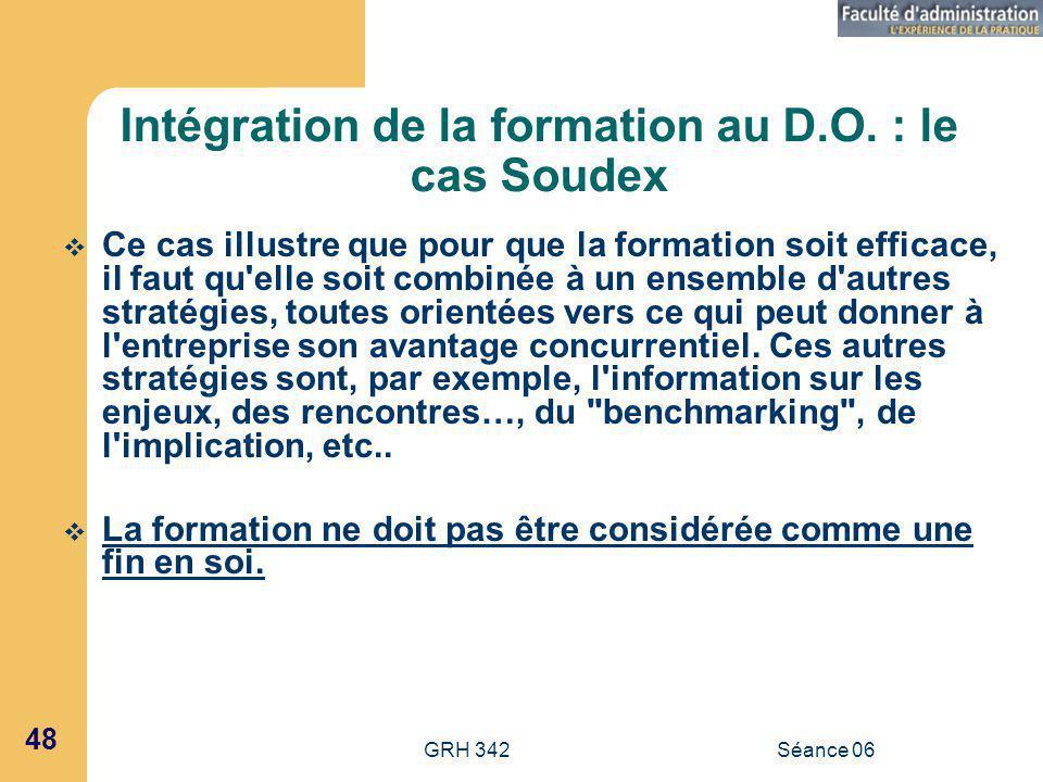 GRH 342Séance 06 48 Intégration de la formation au D.O.