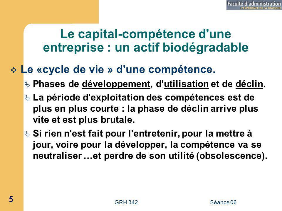 GRH 342Séance 06 5 Le capital-compétence d une entreprise : un actif biodégradable Le «cycle de vie » d une compétence.