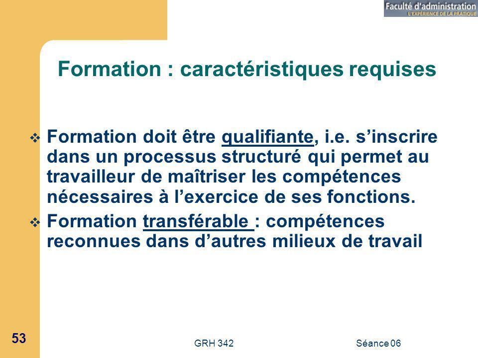 GRH 342Séance 06 53 Formation : caractéristiques requises Formation doit être qualifiante, i.e.