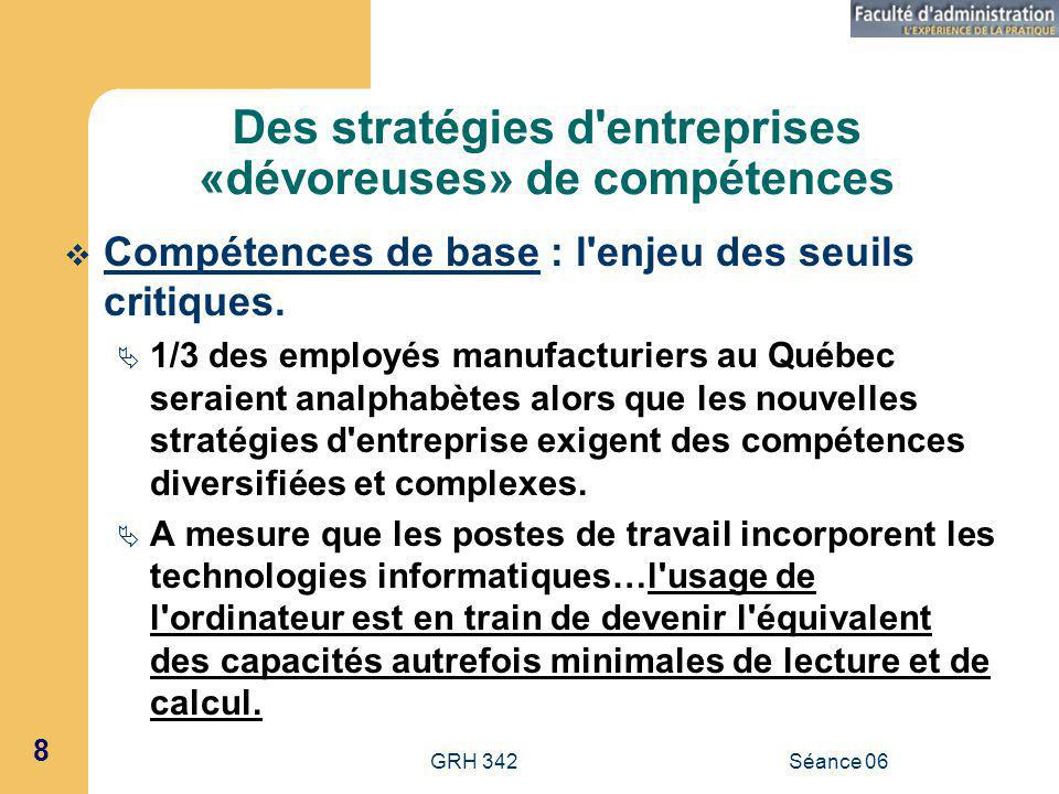 GRH 342Séance 06 8 Des stratégies d entreprises «dévoreuses» de compétences Compétences de base : l enjeu des seuils critiques.