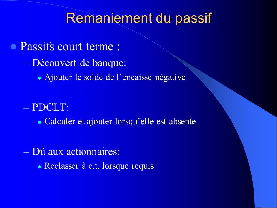 Remaniement du passif Passifs court terme : – Découvert de banque: Ajouter le solde de lencaisse négative – PDCLT: Calculer et ajouter lorsquelle est
