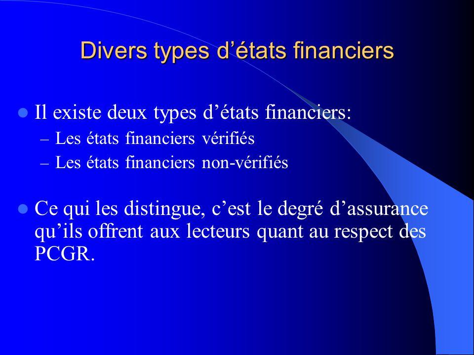 Divers types détats financiers Il existe deux types détats financiers: – Les états financiers vérifiés – Les états financiers non-vérifiés Ce qui les