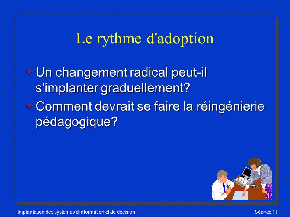 Implantation des systèmes d information et de décisionSéance 11 Le rythme d adoption F Un changement radical peut-il s implanter graduellement.
