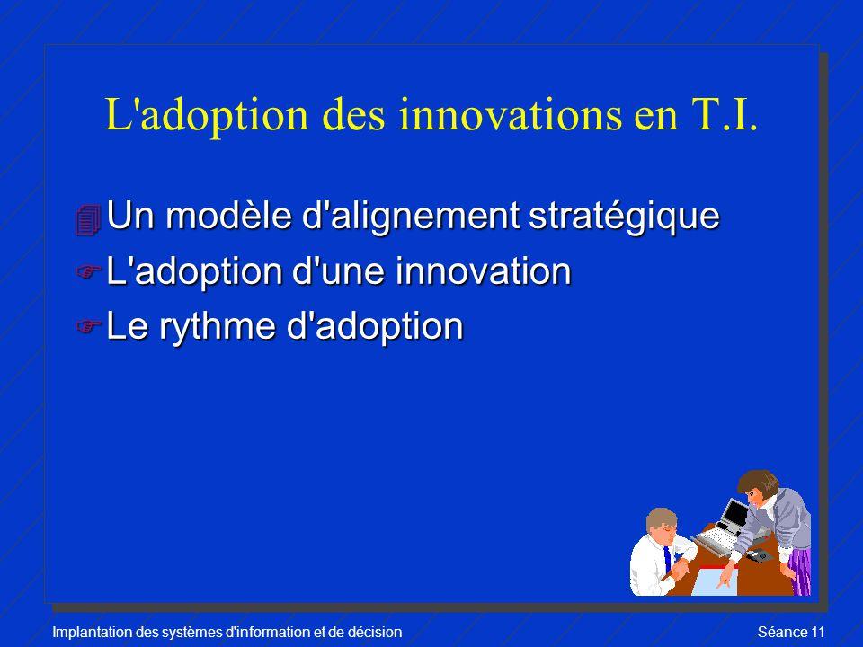 Implantation des systèmes d information et de décisionSéance 11 L adoption des innovations en T.I.