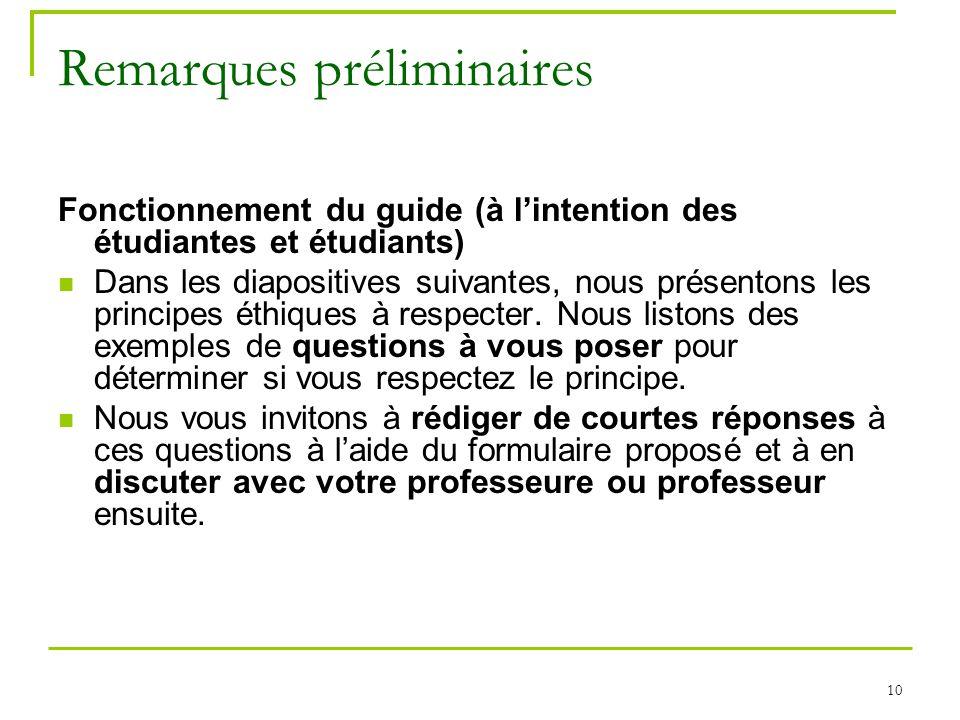 10 Remarques préliminaires Fonctionnement du guide (à lintention des étudiantes et étudiants) Dans les diapositives suivantes, nous présentons les pri
