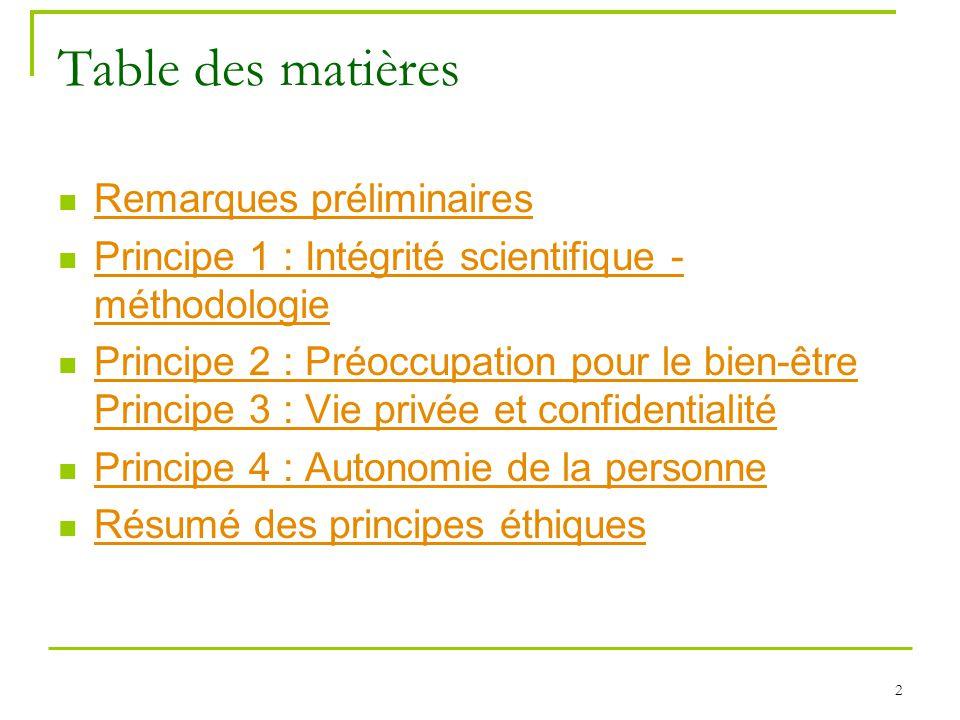 2 Table des matières Remarques préliminaires Principe 1 : Intégrité scientifique - méthodologie Principe 1 : Intégrité scientifique - méthodologie Pri