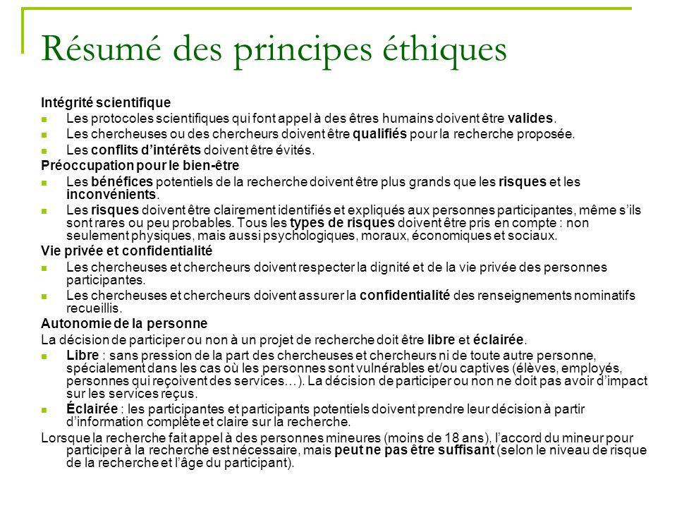 30 Résumé des principes éthiques Intégrité scientifique Les protocoles scientifiques qui font appel à des êtres humains doivent être valides. Les cher