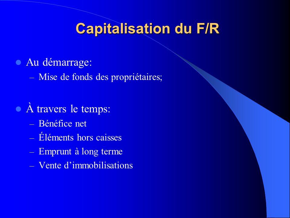 Capitalisation du F/R Au démarrage: – Mise de fonds des propriétaires; À travers le temps: – Bénéfice net – Éléments hors caisses – Emprunt à long ter