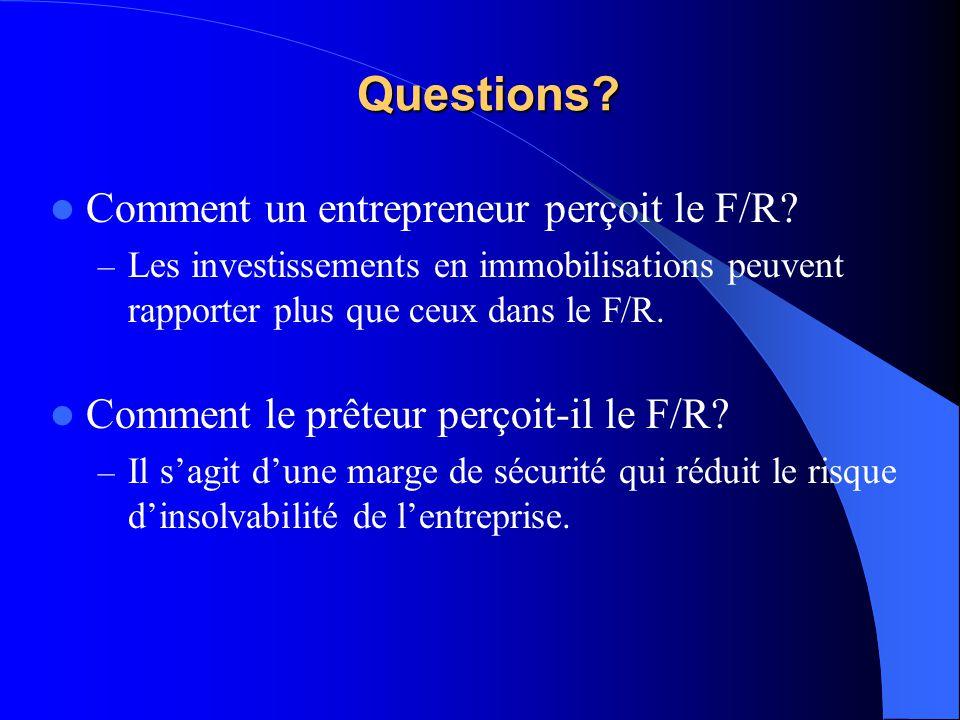 Questions? Comment un entrepreneur perçoit le F/R? – Les investissements en immobilisations peuvent rapporter plus que ceux dans le F/R. Comment le pr