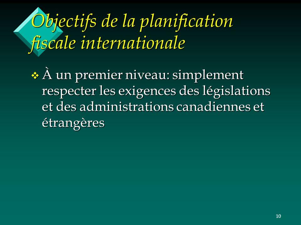 10 Objectifs de la planification fiscale internationale v À un premier niveau: simplement respecter les exigences des législations et des administrati