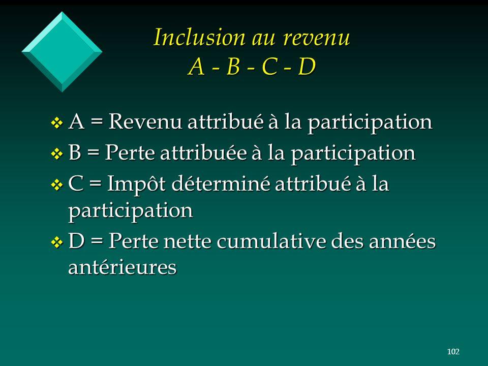 102 Inclusion au revenu A - B - C - D v A = Revenu attribué à la participation v B = Perte attribuée à la participation v C = Impôt déterminé attribué