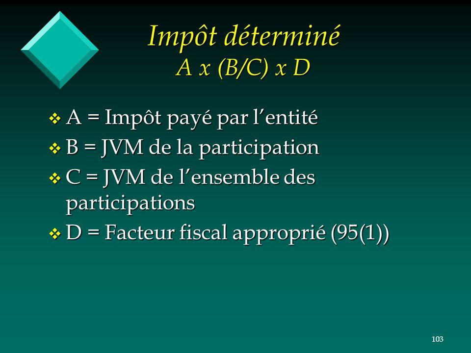 103 Impôt déterminé A x (B/C) x D v A = Impôt payé par lentité v B = JVM de la participation v C = JVM de lensemble des participations v D = Facteur f