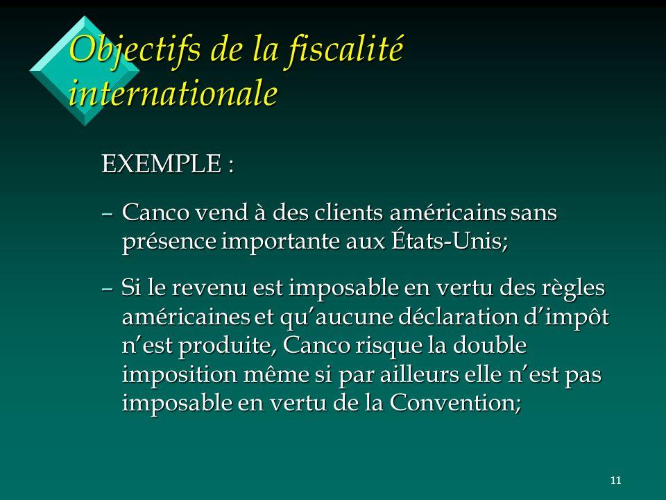 11 Objectifs de la fiscalité internationale EXEMPLE : –Canco vend à des clients américains sans présence importante aux États-Unis; –Si le revenu est